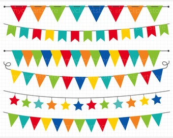 Bunting - Primary Colored Bunting / Birthday Party Banner Flags Clip Art / Digital Clipart - Instant Download