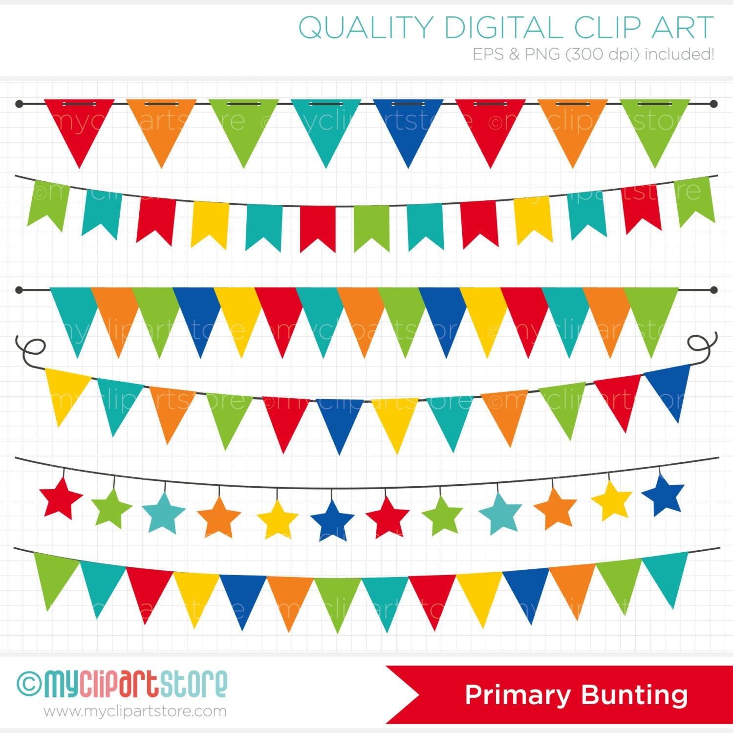 Primary Colored Bunting / Birthday Party Banner