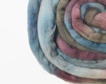 Merino Roving / Top, Blue Purple Grey 3.5oz/100gm