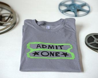Men's Ticket Tshirt, Movie Stub Tee, Admit One