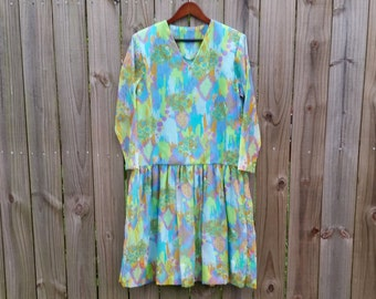 Vintage M L XL Medium Extra Large Volup Plus Size 70s Trippy Psychedelic Print Mod Indie Hipster Long Sleeve Drop Waist Scooter Dress