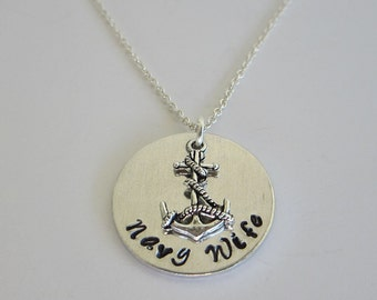 Hand Stamped Navy Wife Necklace / Hand Stamped Aluminum Navy Wife Necklace with Anchor Charm / Navy Mom with Anchor Charm