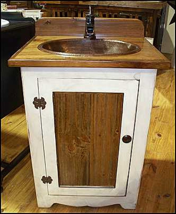 "Bathroom Vanity - Rustic Bathroom Vanity - Bathroom Vanity with sink - Copper sink - 25"" - Bathroom Vanities - Vanity - Rustic Vanity - Sink"