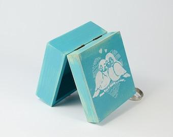 Teal Blue Wedding Ring Bearer Box, Ring Bearer Pillow, We Do Pillow Aternative, Personalized Ring Box, Birds
