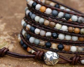 Leather wrap bracelet - warm neutral tones, stack bracelet, five wrap bracelet, gift by mollymoojewels
