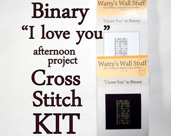 "Cross Stitch KIT -- Binary ""I love you"" mini cross stitch DIY kit"