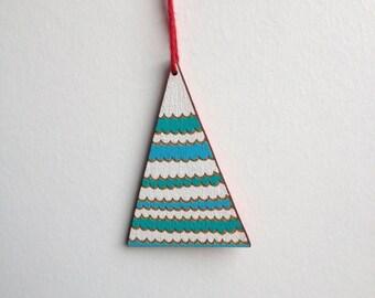 SALE / Geometric mountain inspired ornament / Handmade wooden decor / Triangle Christmas tree pendant