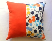 """Patchwork Orange Pillow Cover - Circle Blue, Turquoise, Yellow Linen Fabric - 18x18"""" - Gift for Her, for Mom - Ready to Ship Decor"""