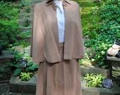 40's Beige Cape and Skirt WWII Movie Dress Medium