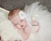 Girls Hair Accessories-White-Shabby-Flower Headband-Pearls-Wedding-Bridal-Bridesmaid-Flower Girl-Baby-Infant-Baptism-Christening