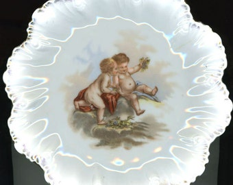c.1900, CHERUBS~ Hand Painted Porcelain, Antique Plate, Not Quite Perfect, But Great for Beginning Collector