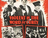 """The Three Stooges """"Violent Is The Word For Curly"""" Reproduction Stand-Up Display - Collectibles Collection Collector Comedy Gift Idea Retro"""