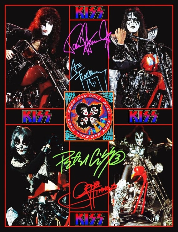 KISS 1976 Motorcycle / Chopper Photos Stand-Up Display - Kiss Band Collectibles Memorabilia Gift Idea Collection Kiss Army Kiss Poster Retro