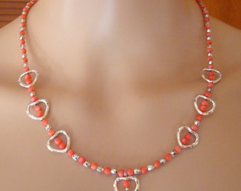"""Pink Coral, Open Hearts & Silver Finish 4mm Facets Gemstone Beaded 18"""" Single Strand Necklace"""