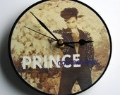 """PRINCE Vinyl Record CLOCK Picture Disc 7"""" single """"Controversy"""" Recycled 80s vintage pop gift for men women.Comes boxed as a gift. Groovy"""