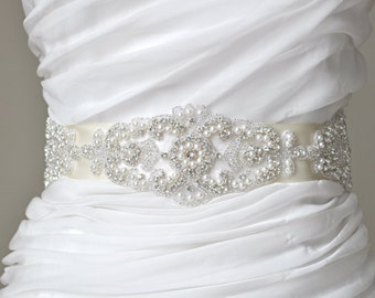 Wedding Sash - Belt,Bridal Sash,Rhinestone Sash,Beaded Sash, Satin Wedding Sash