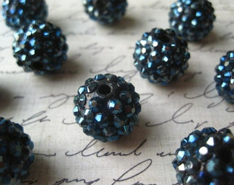 Navy Blue Rhinestone Beads, 16mm Disco Ball Beads, 10 pcs, Bumpy Necklace Bead, Gumball Beads, Bubblegum Bead