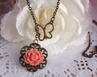 Butterfly flower necklace vintage rose charm pendant romance filigree charm bronze jewellery accessory bridesmaid wedding cottage chic