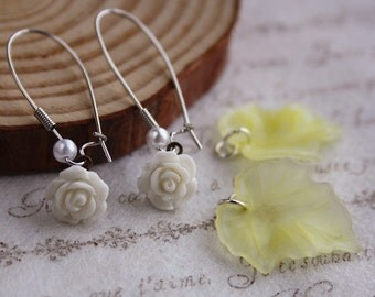 3 ways mix & match Shabby Rose drop earrings leaf romantic woodland flower cottage chic gift box jewellery accessory wedding bridesmaids