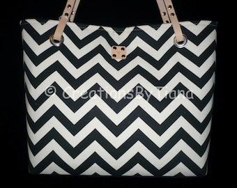 Chevron Purses - Black Chevron - Purse - bag - Handmade - Handbag - Leather handles