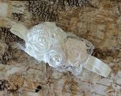 Ivory flower headband, Vintage flower girl headband, Baby girl headband, wedding hair clip