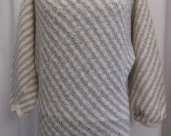 vintage, knit fleece by STOBI of DENMARK coffee and cream striped wool sweater sz small