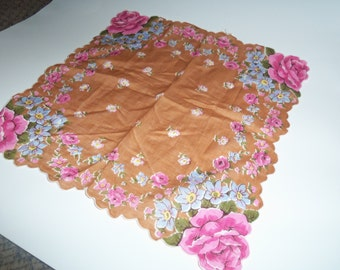 "Vintage linen stamped brown Handkerchief with colorful flower print Gorgeous 13"" Hankie"