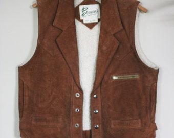 vintage heavy brown suede vest by bermans size 40