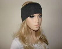 Yoga headband, Charcoal Grey Heather Turban Headband Jersey, Gray Hair Band, Woman Workout - il_214x170.604223238_p2qm