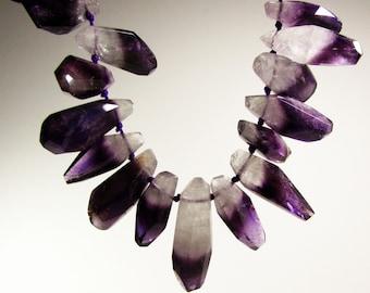 Rare Bi Color Amethyst Rock Crystal Quartz Faceted Point Graduating Nugget Beads Strand 15mm - 38mm