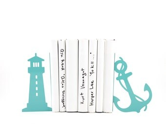 Metal Bookends Light house and anchor sea theme nursery // beach house // modern home decor // housewarming gift // FREE SHIPPING WORLDWIDE