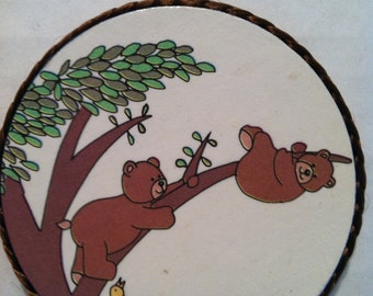 Bears hanging out in tree handmade magnet, 1980's or early '90's