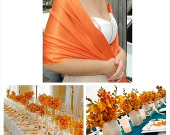 SUNSHINE ORANGE Pashmina. Pashmina Scarf. Wedding Shawl. Bridesmaid Pashmina.