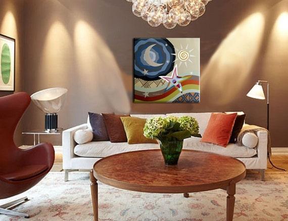 Philosophical Original Painting - Star, Moon & Sun Pop Art Cubism Abstract Art with Metallic Finish