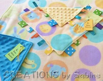 Baby Gift Set Blanket & Sensory Tag Toy / Boy Stroller Minky Play Mat Blankie / Changing Pad Lovie / Farm Zoo Animal Soft Colors (12/167)