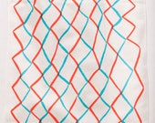 Linen/cotton Tea Towel - Red and Cyan Net