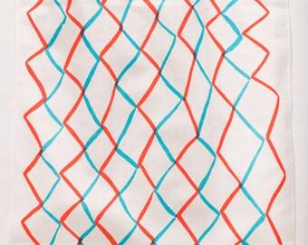 Linen/cotton Tea Towel - Red and Cyan Net