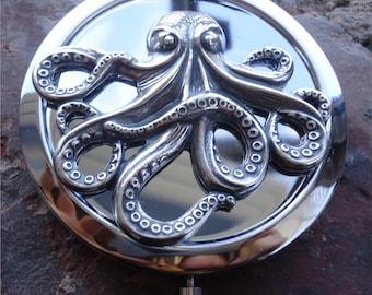 Steampunk Octopus Compact Mirror - Victorian Sea Creature - Nautical Haeckel - Make Up - Cosmetics - Pocket Mirror