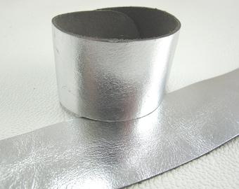 "Metallic Silver Leather Cuff Bracelet  1-5/8"" Wide, #50-1007"