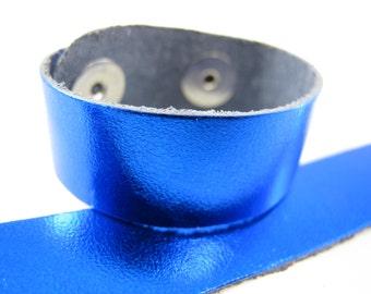 """Blue Metallic Leather Kids Cuff Bracelet 3/4"""" wide, #50-7831009"""