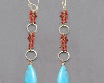Red coral and turquoise on hammered rings Modglam 176