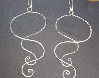 Original Design hammered long spiral shape earrings Nouveau 3