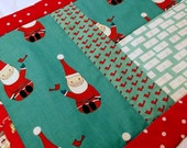 Table Runner, Quilted, Santa Reds & Aqua