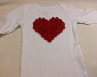 Valentine Red Chiffon Rose Heart Applique on a White Long Sleeved Onesie Babies Sizes Newborn to 5/6T