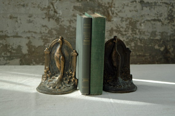 Vintage Peacock Bookends Nouveau Solid By Territoryhomegoods
