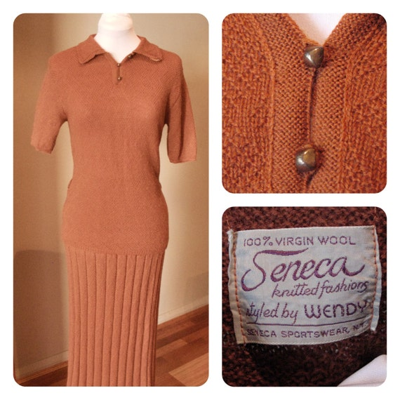 Vintage 1940s Ochre Knitted Blouse & Skirt set - M to L