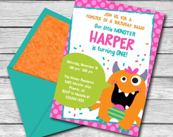 SALE!! INSTANT DOWNLOAD, Monster Bash Birthday Girl, 5 x 7 Printable Invitation, You Edit Yourself in Adobe Reader