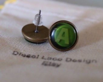 Xbox Button Earrings studs A Green button handmade handcrafted xbox 360 video games ear ring studs call of duty gears of war