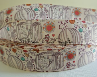 "1"" Ribbon by the Yard-Love of Travel-suit cases and hears cream Grosgrain Ribbon-Perfect for Bows Clips Scrap booking Sewing"