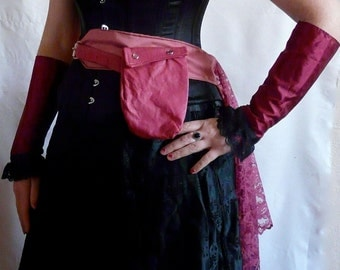 Steampunk Utility Bustle - Pink with Maroon Lace - Victorian Gothic